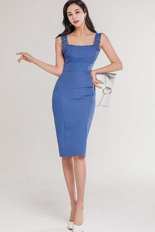 BACKORDER - Palene Shoulder Buckle Dress In Blue