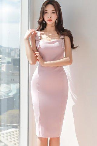 BACKORDER - Palene Shoulder Buckle Dress In Pink