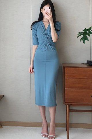 BACKORDER - Rohana V-Neck Knotted Dress In Blue