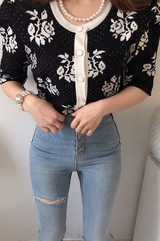 BACKORDER - Shuie Floral Print Outerwear In Black