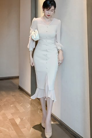 BACKORDER - Zalisha V-Neck Ruffle Hem Dress In Beige