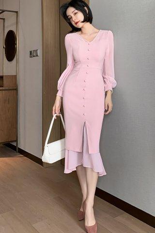 BACKORDER - Zalisha V-Neck Ruffle Hem Dress In Pink