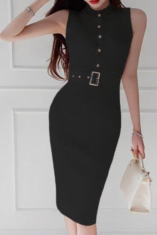 BACKORDER - Zevita Sleeveless Knit Dress In Black