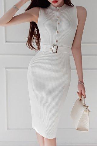 BACKORDER - Zevita Sleeveless Knit Dress In White
