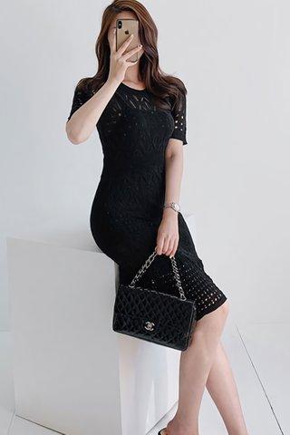 INSTOCK - Agnesa Knit Eyelet Ruffle Hem Dress In Black