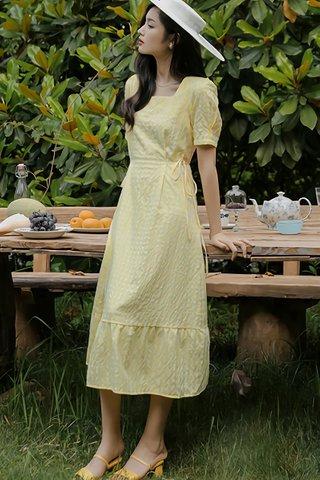 BACKORDER - Antona Square Neck Checkered Print Dress