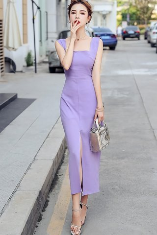 BACKORDER - Ashea Square Neck Slit Dress In Purple