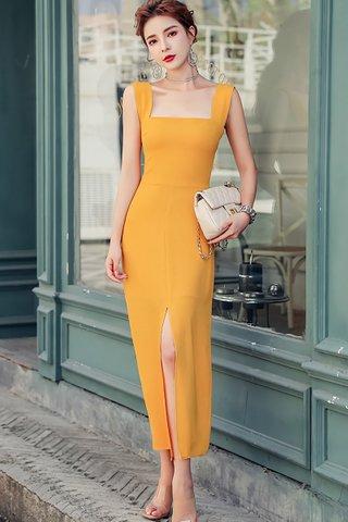 BACKORDER - Ashea Square Neck Slit Dress In Yellow