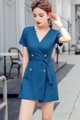 BACKORDER - Belinda V-Neck Sleeve Romper In Blue
