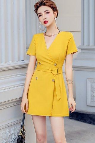 BACKORDER - Belinda V-Neck Sleeve Romper In Yellow