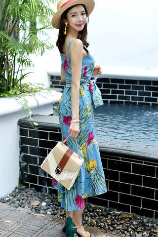 BACKORDER - Ellma Floral Print Dress In Blue