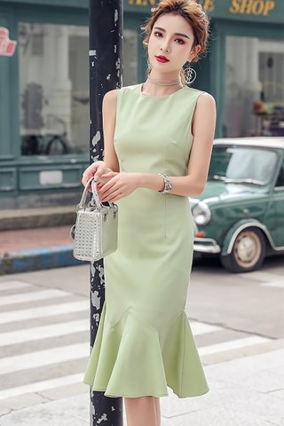 INSTOCK - Kalmery Sleeveless Ruffle Hem Dress In Pale Green