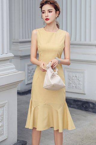 BACKORDER - Kalmery Sleeveless Ruffle Hem Dress In Pale Yellow