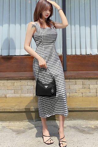 BACKORDER - Kariene Square Neck Checkered Dress