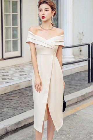 BACKORDER - Nello Off Shoulder Foldover Dress In Cream