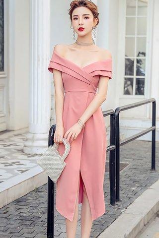 BACKORDER - Nello Off Shoulder Foldover Dress In Pink