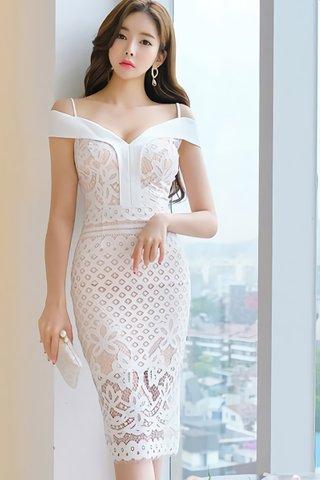 BACKORDER - Raina Cold Shoulder Overlay Dress In Beige