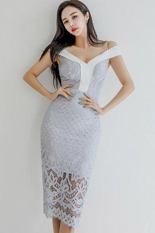 BACKORDER - Raina Cold Shoulder Overlay Dress In Grey
