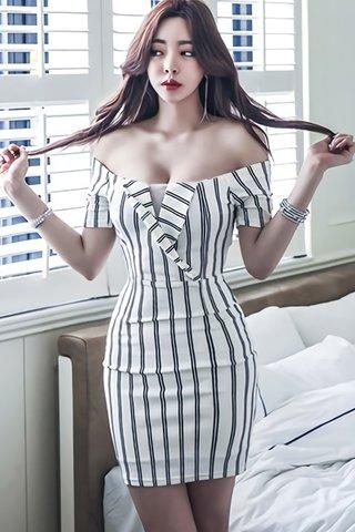 BACKORDER - Ralene Off Shoulder Stripe Dress