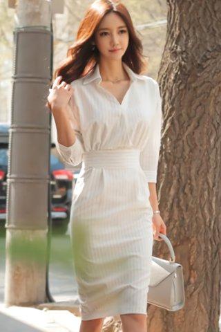 BACKORDER - Royen Collar Pinstripe Dress
