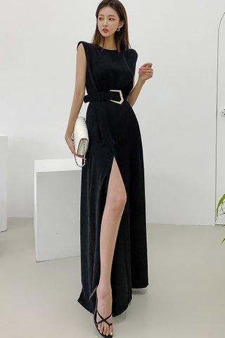 BACKORDER - Shona Sleeveless Slit Jumpsuit In Black
