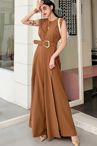 BACKORDER - Shona Sleeveless Slit Jumpsuit In Coffee Brown