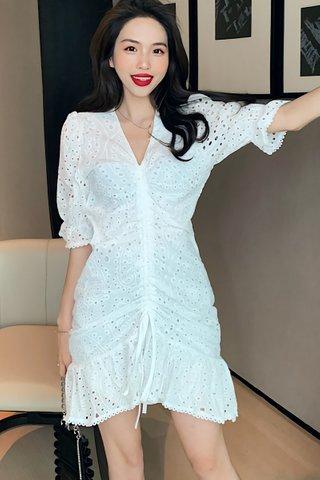 BACKORDER - Valeria V-Neck Eyelet Dress