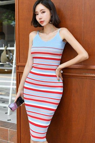 BACKORDER - Vansica Sleeveless Knit Dress In Light Blue