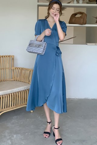 BACKORDER - Aderra Asymmetrical Hem Wrap Dress In Blue