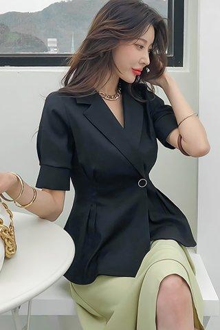 BACKORDER - Allene Collar Sleeve Top In Black