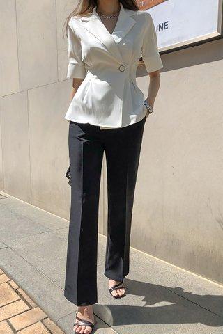BACKORDER - Allene Collar Sleeve Top In White