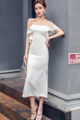 BACKORDER - Alvean Ruffle Cascade Cold Shoulder Dress