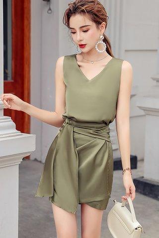 BACKORDER - Branett V-Neck Top With Skirt Set
