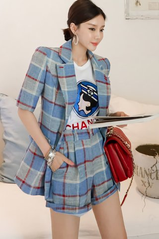 BACKORDER - Brensa Checkered Outerwear With Short Set