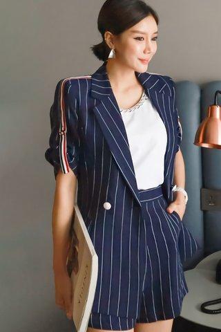 BACKORDER - Brisha Stripe Outerwear With Short Set