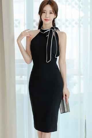 BACKORDER - Cholyn Halter Neck Ribbon Tie Dress