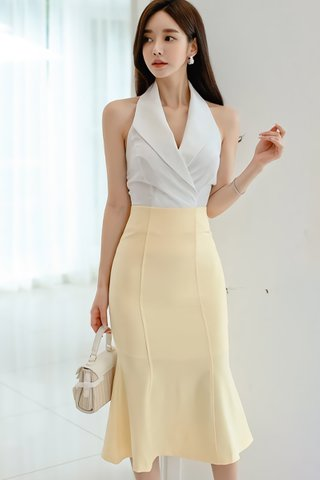 BACKORDER - Ellby Halter Collar Top With Skirt Set