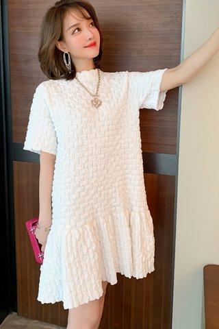 BACKORDER - Faline Sleeve Babydoll Dress In White