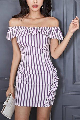 INSTOCK - Issara Stripe Off Shoulder Top With Skirt Set