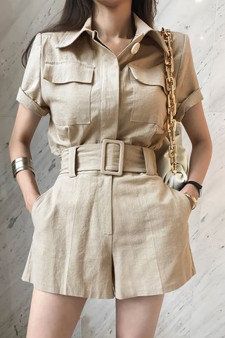 BACKORDER - Isvabell Collar Crop Top With Short Set In Khaki