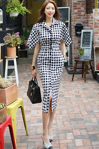 BACKORDER - Janssie Checkered Sleeve Dress