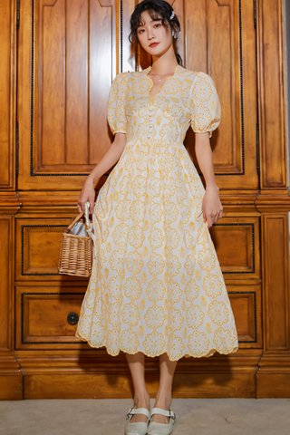 BACKORDER - Kalina Eyelet Scallop Hem Dress