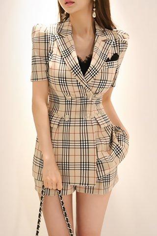 BACKORDER - Kalissa Plaid Outerwear With Short Set