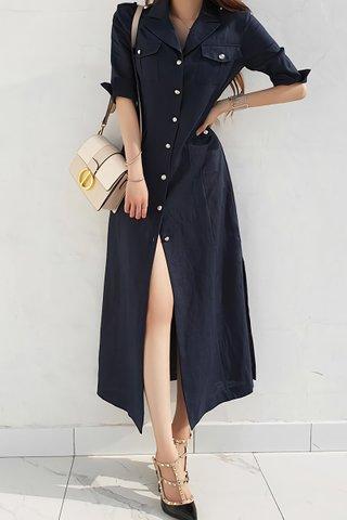 BACKORDER - Kanette Single Breasted Dress In Black