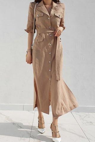 BACKORDER - Kanette Single Breasted Dress In Brown