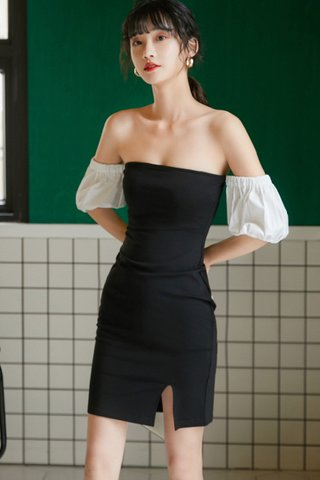 BACKORDER - Kayis Puff Sleeve Cut Out Dress