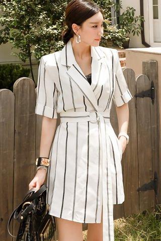 BACKORDER - Kealie Collar Stripe Romper In White