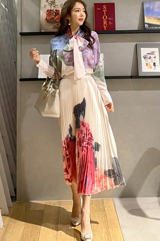BACKORDER - Lucina Floral Shirt With Pleated Skirt Set