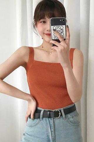 BACKORDER - Lucina Square Neck Knit Top In Amber Orange