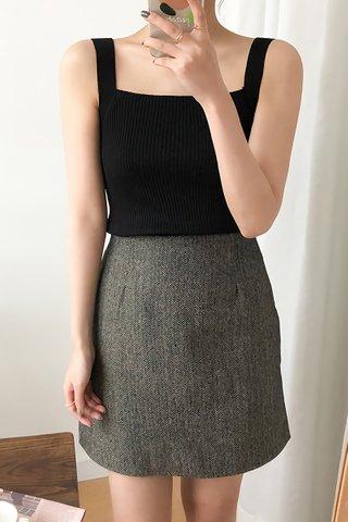 BACKORDER - Lucina Square Neck Knit Top In Black